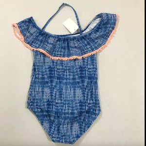 Lucky Brand Girls Blue Striped One-Piece Swimsuit